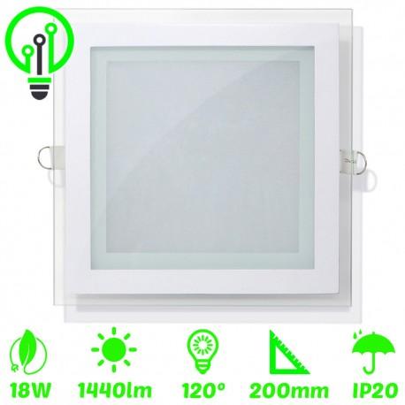Panel LED 18W cuadrado cristal
