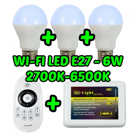 Pack Bombillas LED WIFI x3 + Mando + Unidad Wifi