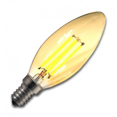 Bombilla Filamento LED E14 3W GOLDEN 2200K VELA REGULABLE