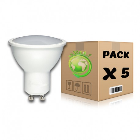 PACK Bombillas LED GU10 7W 6000K x 5 uds