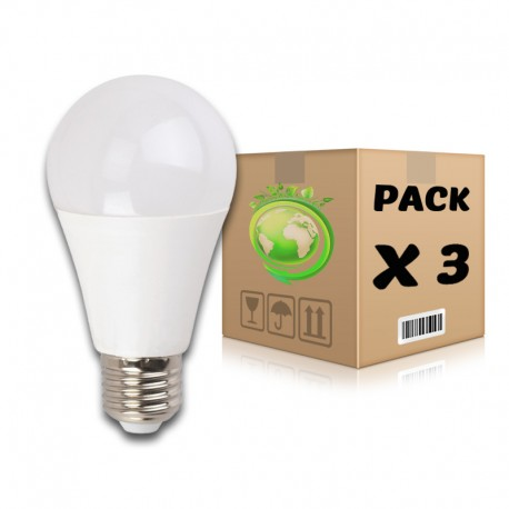PACK Bombillas LED E27 10W 3000K x 3 uds