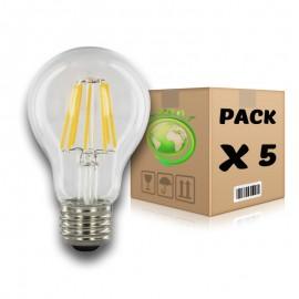 PACK Bombillas Filamento LED E27 6W 2700K A60 x 5 uds
