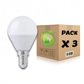 PACK Bombillas LED E14 6W 6000K G45 x 3 uds