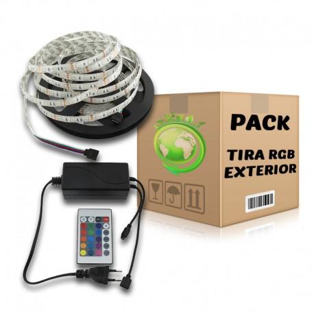 PACK Tira LED SMD 5050 RGB 5 metros Uso Exterior