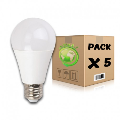 PACK Bombillas LED E27 10W 6000K A60 x 5 uds