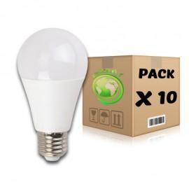 PACK Bombillas LED E27 10W 3000K A60 x 10 uds