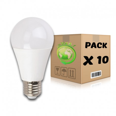 PACK Bombillas LED E27 10W 3000K A60 x 10 uds
