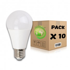 PACK Bombillas LED E27 10W 6000K A60 x 10 uds