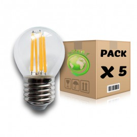 PACK Bombillas Filamento LED E27 4W 2700K G45 x 3 uds