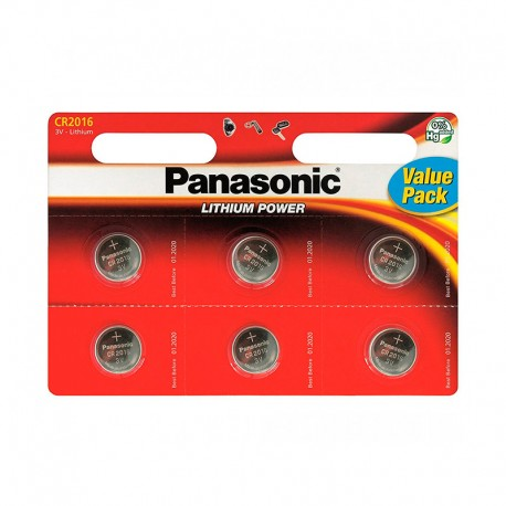 Pilas Panasonic Lithium Power CR2016 Pack 6 UDS