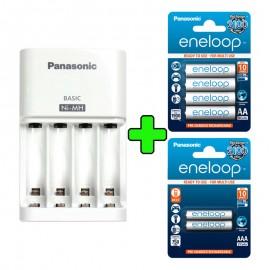 Pack Cargador Panasonic + Pilas Recargables 4xAA 1900mAh 2xAAA 750mAh