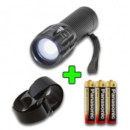 Pack Linterna LED mini 3W zoom + soporte bici