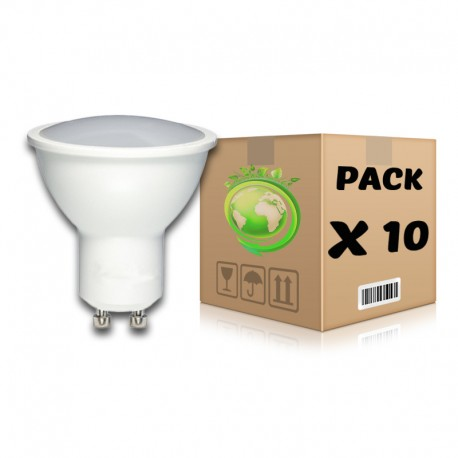PACK Bombillas LED GU10 7W 3000K x 10 uds