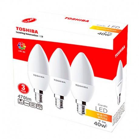 PACK Bombillas LED Toshiba E14 5W 2700K Vela x 3 uds
