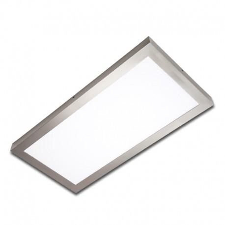 Plafón superficie LED 24W rectangular inox