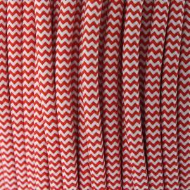 Cable Textil Vintage Rojo/Blanco