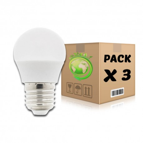 PACK Bombillas LED E27 6W 4500K G45 x 3 uds