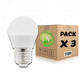 PACK Bombillas LED E27 6W 6000K G45 x 3 uds