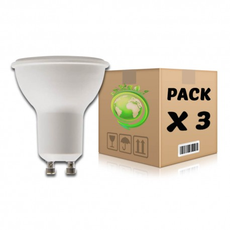 PACK Bombillas LED GU10 6W 6000K x 3 uds