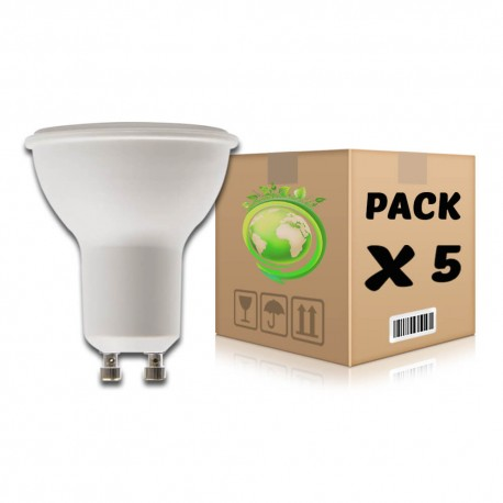 PACK Bombillas LED GU10 6W 6000K x 5 uds