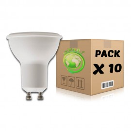 PACK Bombillas LED GU10 6W 6000K x 10 uds